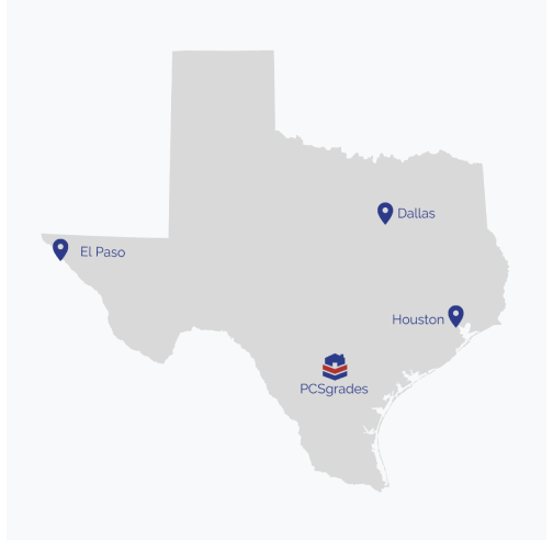 Map of Texas with marker for PCSgrades